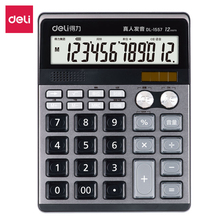 Deli Home office voice calculator Large screen shows 12 digits Music alarm clock Financial accounting Multifunction calculator deli home office voice calculator 12 digit electronic calculatory can display calendar music clock multifunction calculator