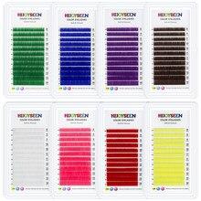 Extensions de cils individuels colorés, faux-cils de couleur violette, bleue, marron, vert, rouge, blanc, rose, jaune, accessoire en faux vison,