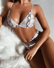 цена Sexy Snake Print Bikini 2019 Female Swimsuit Women Swimwear Thong Push Up Bikinis Set High Waist Swimming Suits for Bathing Suit онлайн в 2017 году