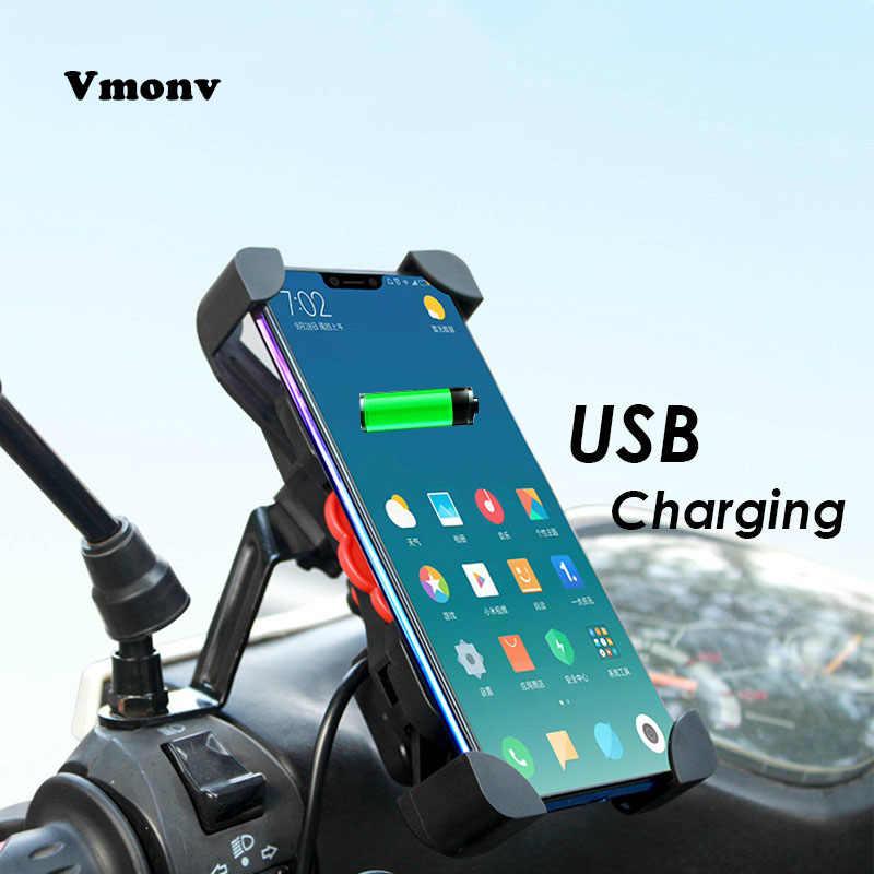 Auto Fechamento Da Motocicleta Titular de Telefone Celular Com Carregador USB 360 Rotação Universal SmartPhone Suporte de Montagem Para iPhone 7 8 X samsung