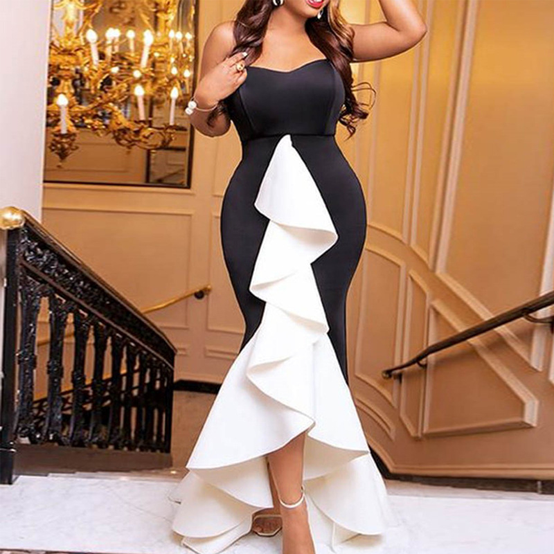 White And Black Mermaid Long Evening Dresses Short Front Long Back Formal Evening Gown With Stretch Plus Size Dress ESAN235
