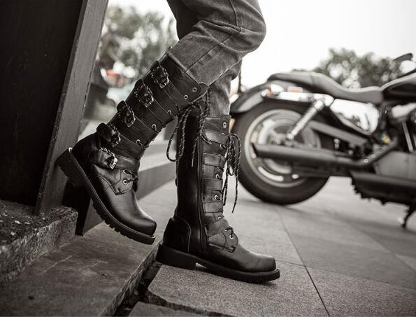 Men Military Boots 2019 Leather Winter Black Cowboy Snow Metal Gothic Punk Boots Male Shoes Motorcycle Desert Boots
