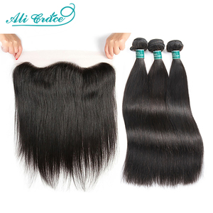 Ali Grace Straight Hair Bundles With Frontal 13x4 Medium Brown Lace Brazilian Human Hair Bundles With Frontal Free Shipping(China)