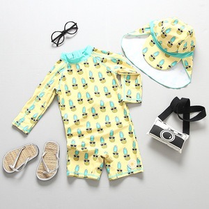 Image 5 - طفل فتاة ملابس السباحة UPF50 قطعة واحدة طويلة الأكمام UV الفتيات ملابس السباحة الأناناس فلامنغو ملابس حمام الطفل لباس سباحة للأطفال