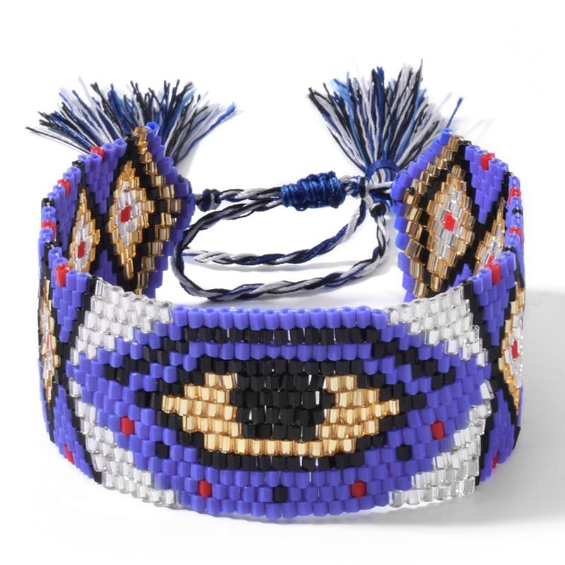 SHINUSBOHO Pink Evil Eye Bracelets for Women MIYUKI Delicas Bead Loom Statement Bangles Bracelets Men Pulsera Friendship Jewelry
