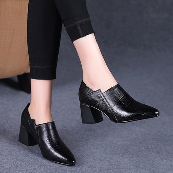Pointed toe Mid Heels Women 2020 Autumn Single Shoes Woman Soft PU leather Shoe Square Heel Female Korea Style Side Zip Black - discount item  5% OFF Women's Shoes