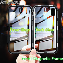 360 Metal Magnetic Adsorption Case For iPhone XS MAX X XR 8 7 Plus 6 6s 11 Double Sided Glass Magnet Cover 7Plus Funda