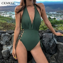 Bandage Swimsuit Sexy High Cut Women One Piece Swimsuit Thong 2019 Red Lace Up Halter Swimwear Deep V Neck Bathing Suit Trikini black cut out design deep v neck halter swimsuit