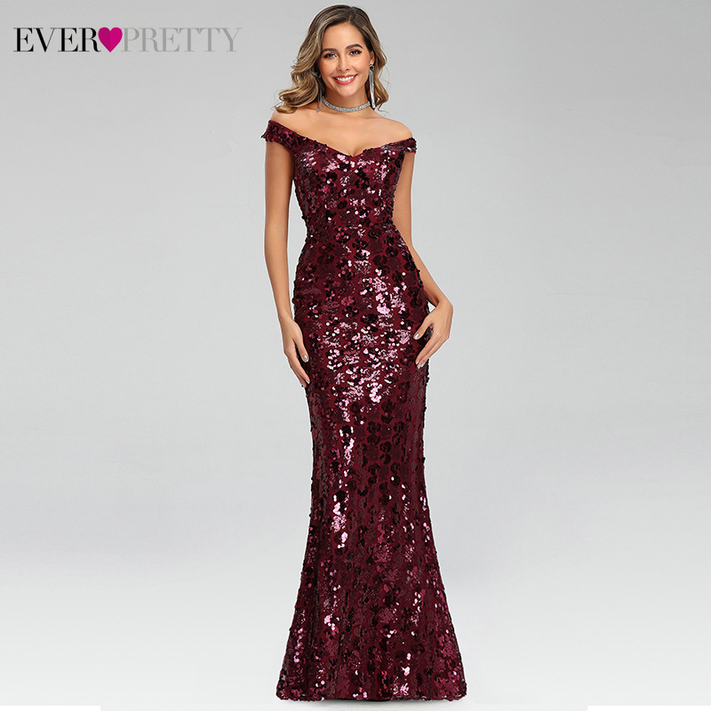 Sexy Burgundy Evening Dresses Long Ever Pretty EP00743BD Double V-Neck Sequined Sparkle Mermaid Party Gowns Robe De Soiree 2020