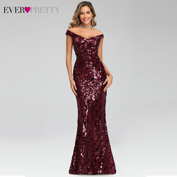 Sexy vestidos De noche Borgoña largo siempre bonito EP00743BD Doble cuello en V lentejuelas brillantes vestidos De fiesta De estilo sirena Robe De Soiree 2020