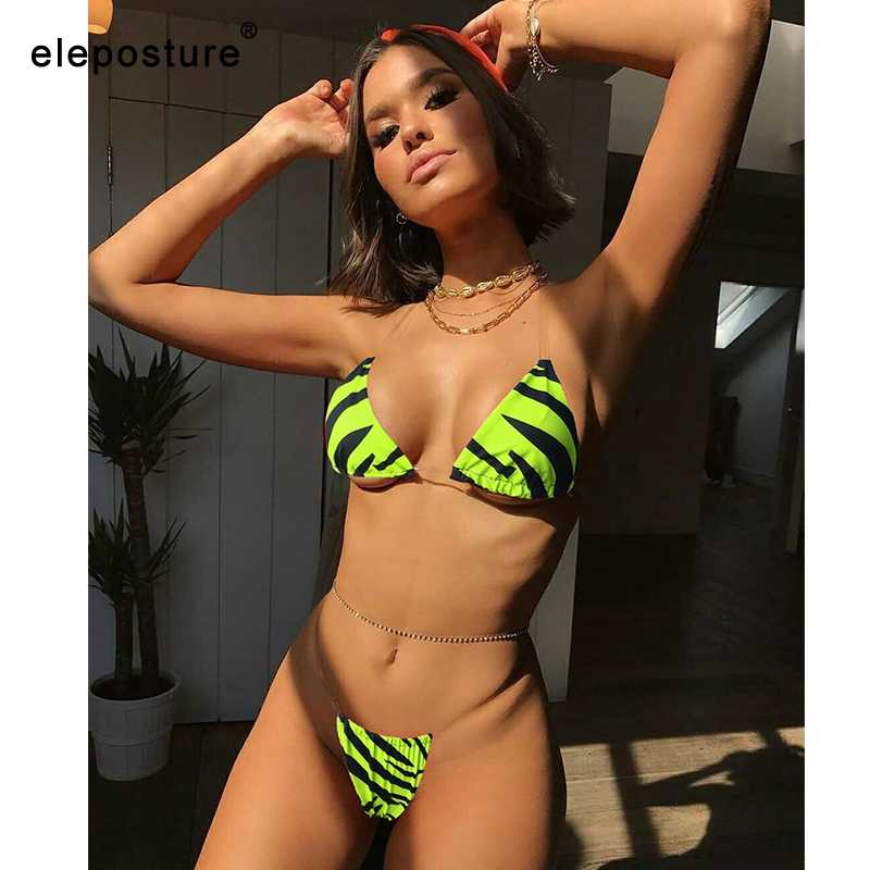 2019 Sexy Transparent Straps Bikini Women Striped Swimsuit Deep V Swimwear Low Waist Bathing Suits Brazilian Beach Wear Biquini