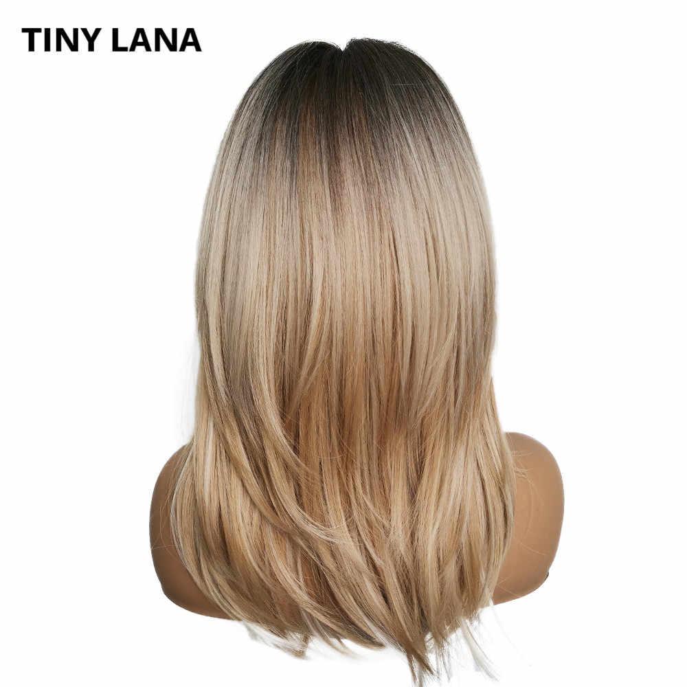 Küçük LANA uzun dalgalı Ombre kahverengi kül sarışın sentetik kahküllü peruk parti saç peruk kadınlar için yüksek sıcaklık Fiber saç peruk