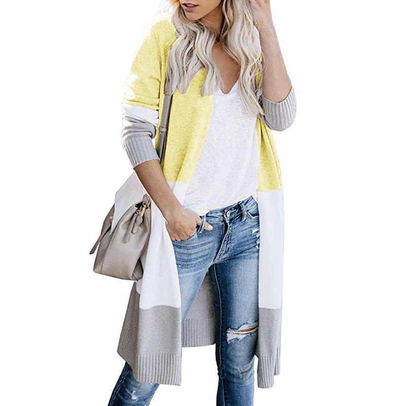 سترة حريمي كارديجان 2019 مرقع طويل للخريف والشتاء تجارة خارجية جديدة عرض ساخن ملابس شتوية حريمي Vestidos MMY77062