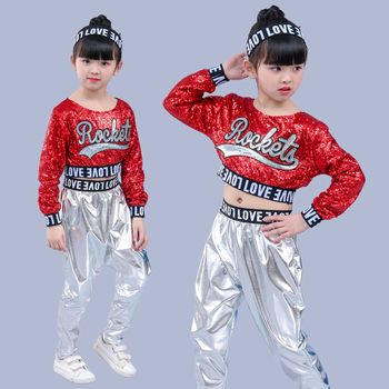 Red Girl Jazz Dance Children Sequin Hip Hop Costume Sparkly Stage Costumes Suit Girls Crop Top and Pants - discount item  44% OFF Stage & Dance Wear