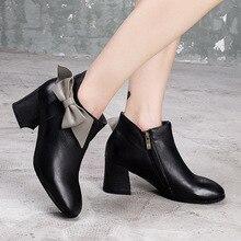 Artdiya Original Genuine Leather Women Boots 2019 Fall New High Heels Handmade Ankle Boots Thick Heels Square Toe Ladies' Shoes цена 2017