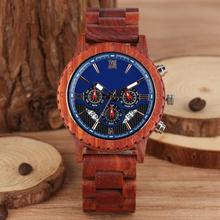 Wonderful Red Sandalwood Strap Wood Watches for Men Large Dial with Luminous Pointers Wooden Watch Charming Wristwatch