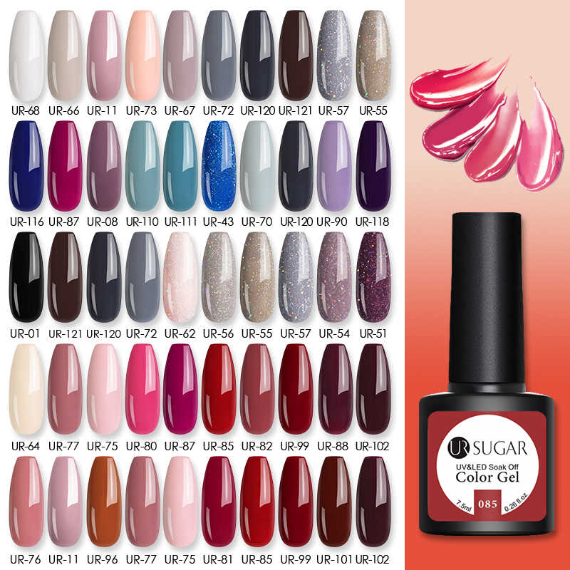 UR Gula 10 Buah/Banyak Warna Gel Nail Polish Set 122 Warna Semi Permanen UV LED Gel Varnish SOAK Off Nail lak Base Top Coat