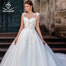 פיות חרוזים 3D פרחי חתונה שמלת SWANSKIRT F252 אפליקציות שרוולים אונליין אשליה נסיכת כלה שמלת Vestido דה novia