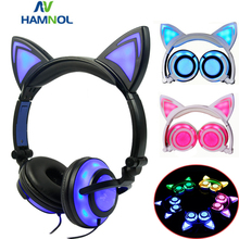 Glowing Light Cat Ear Headphones Stereo Cat Earphones 3.5mm Wired Gaming Headset for PC Gamer Mobile Phone SP4 New XBOX Tablet