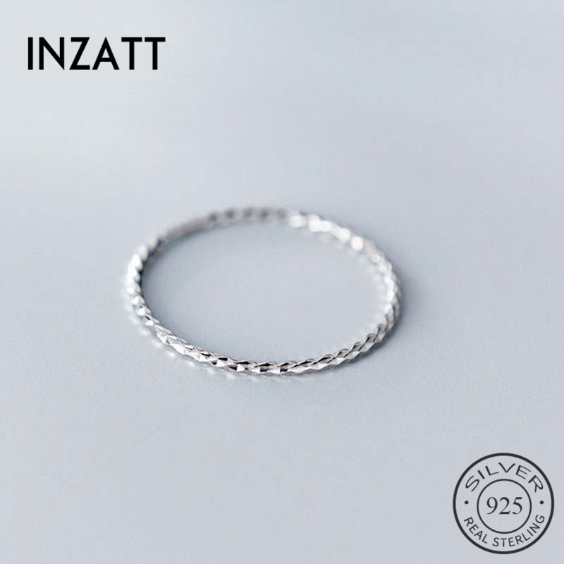 INZATT Real 925 Sterling Silver Minimalist Round Ring For Fashion Women Party Cute Fine Jewelry Geometry Accessories Gift