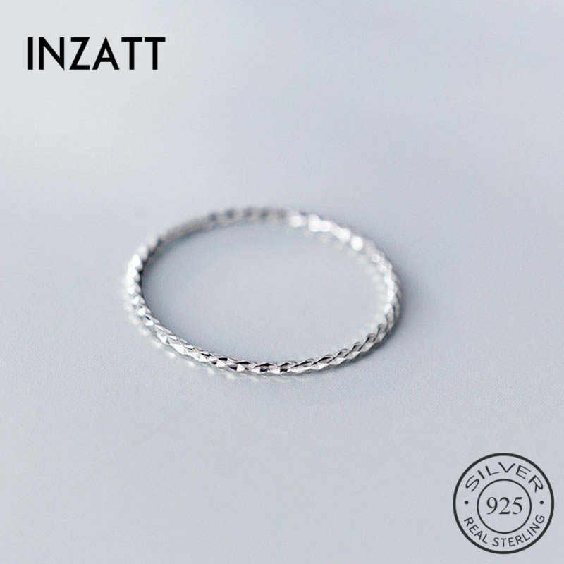 INZATT gerçek 925 ayar gümüş Minimalist yuvarlak yüzük moda kadınlar için parti sevimli güzel takı geometri aksesuarları hediye