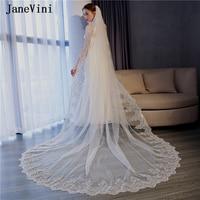 JaneVini Luxury Long Ivory One Layer Bridal Veil with Comb Appliques Edge Sequins Tulle 3M Wedding Veil Accessories Veu De Noiva