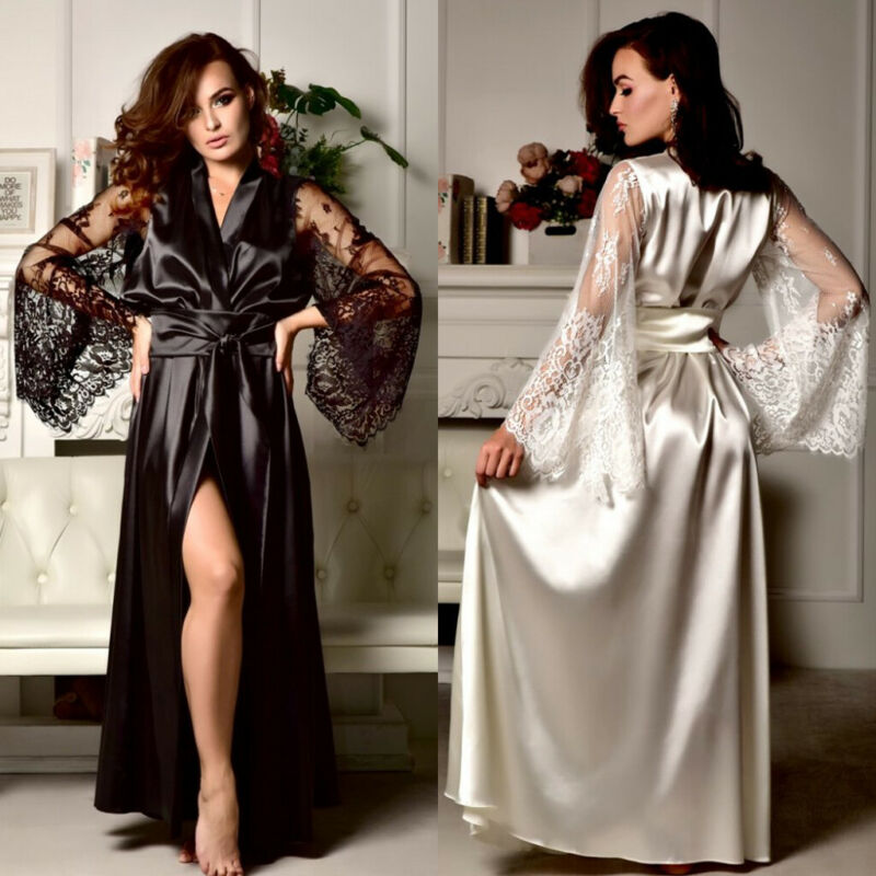 Hot Sale Women Satin Silk Lace V-neck Bandage Robe Dress Gown Kimono Bridal Wedding Sleepwear Nightdress