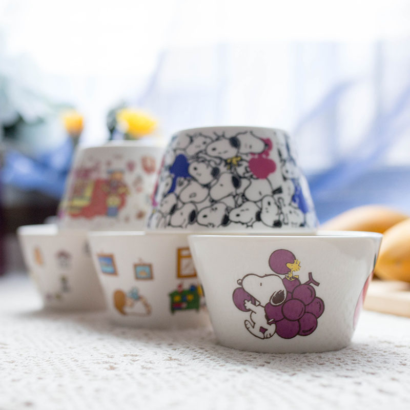 Snoopy Cereal Bowl  Cartoon Kitty Children's Cutlery Rice Bowl Jingde Town  Small Bowl  Soup Bowl