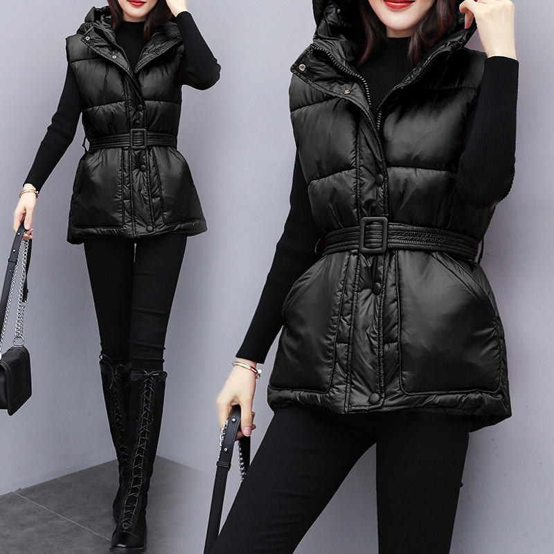 2019 Autumn & Winter New Style Short BF Style Hooded Down Feather Cotton Vest Women's Waist Hugging Slimming Vest Cropped Jacket