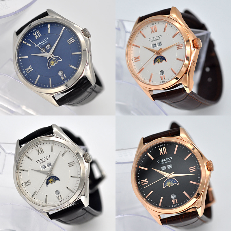 41MM Moon Phase watch C2 New Corgeut mens watch  fashtion automatic mechanical wristwatches waterproof 316L Stainless steel case
