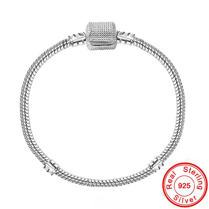 Statement 925 Sterling Silver 3mm Basic Snake Chain Fit Bracelet DIY Charms Beads Bracelets & Bangles for women Original Jewelry