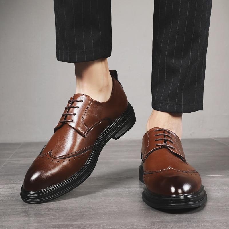 2020 Men Shoes Leather Men Dress Shoes