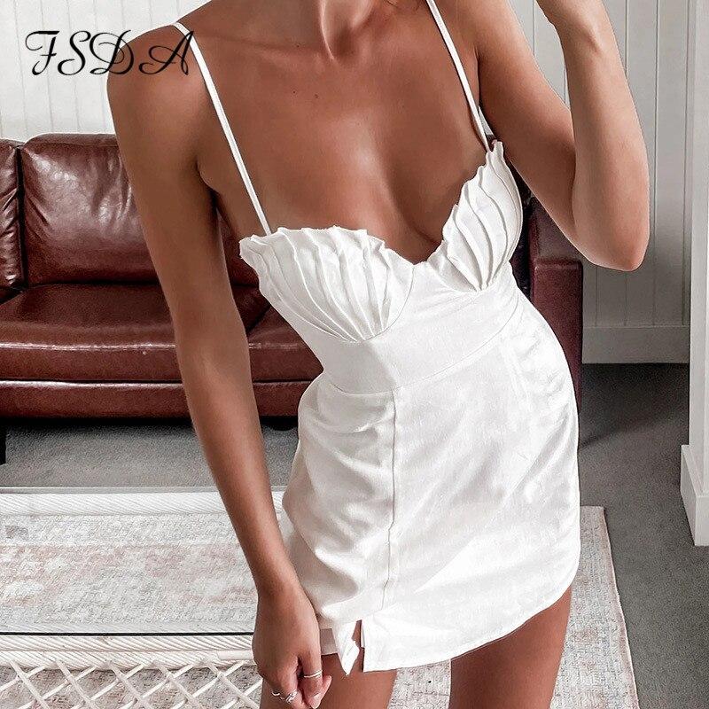 FSDA V-ausschnitt Mini Sexy Backless Kleid Frauen Spaghetti Strap Weiß Sommer 2021 Sleeveless Club Bodycon Kleider Party Strand