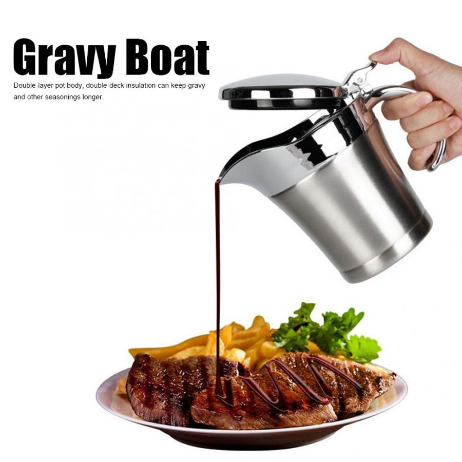 450ml Gravy Boat 304 Stainless Steel Double Layer Insulation Flavor Sauce Pot Gravy Boat Serving Jug Kitchen Utensils