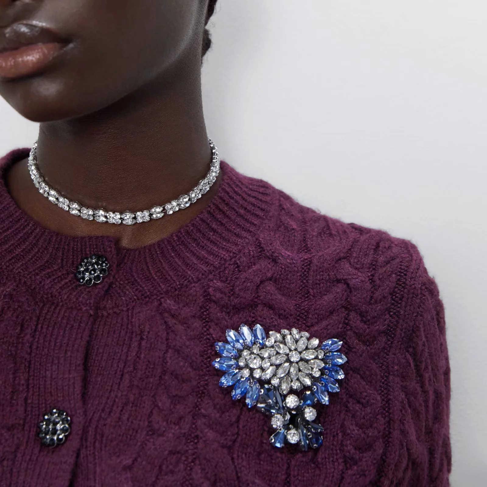 Papan Musim Gugur Musim Dingin Wanita Cardigan Perhiasan Dekoratif Rajutan Sweater Wanita Lengan Panjang Kasual Sweter Rajut Atasan Wanita