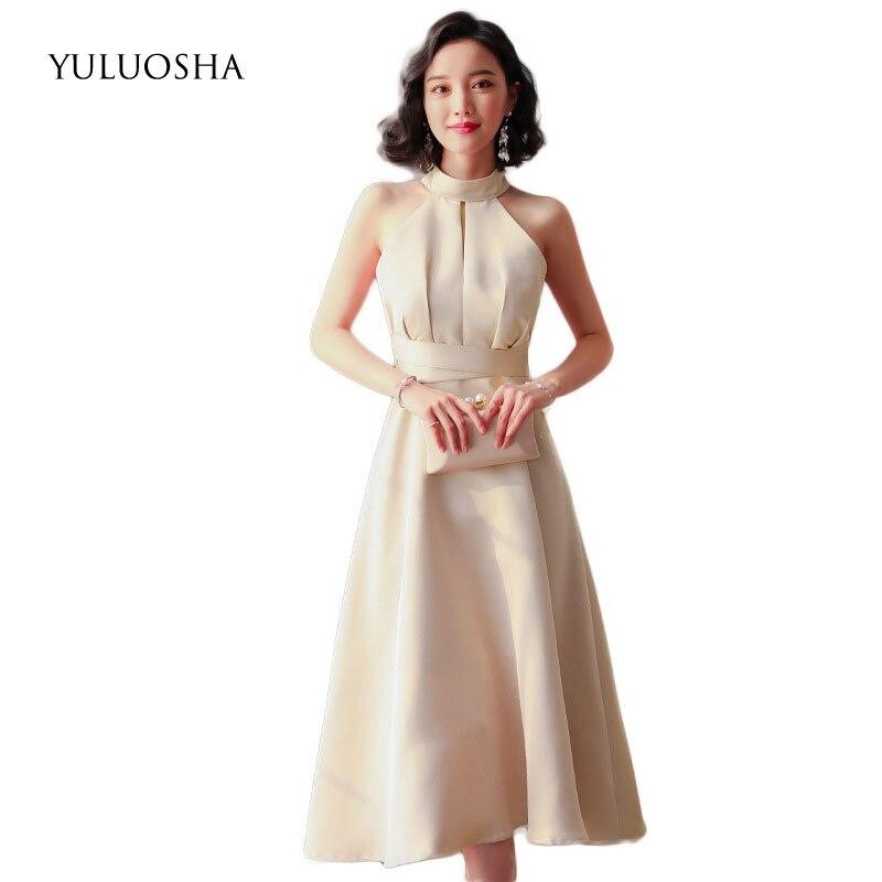 YULUOSHA 2020 New Sexy Bridesmaid Dresses Halter Sleeveless Simple Knee-Length Wedding Party Formal Gowns Vestidos De Festa