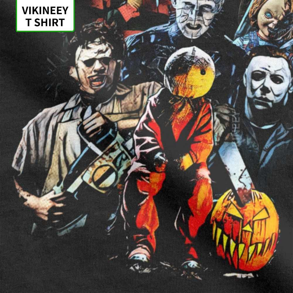 ภาพยนตร์สยองขวัญตัวอักษรเสื้อยืดผู้ชายฮาโลวีนน่ากลัววันศุกร์ที่ 13th Jason Voorhees Freddyผ้าฝ้ายแขนสั้นTeeเสื้อ