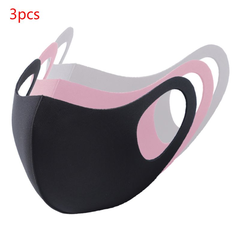 3Pcs/Set Kids Adult Waterproof Sponge Mouth Mask 3D Reusable Breathable Anti Pollution Face Cover Earloop Mouth-Muffle