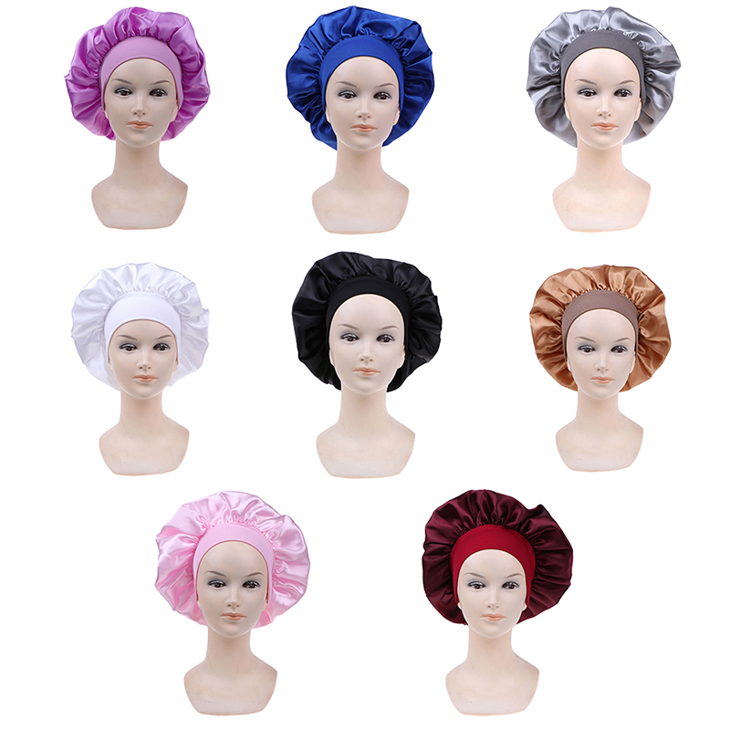 Women Elastic Satin Lace Solid Color Night Sleep Hat Chemotherapy Hair Care Cap Hair Styling Care Hair Care Bonnet Nightcap