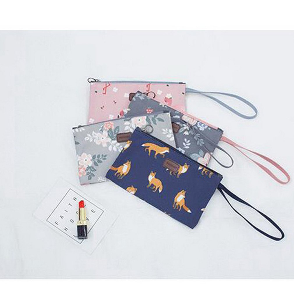 Multifunction Makeup Cosmetic Bag Case Waterproof Toiletry Pouch Storage Bag Zipper Travel Hand BagNavy Blue Fox