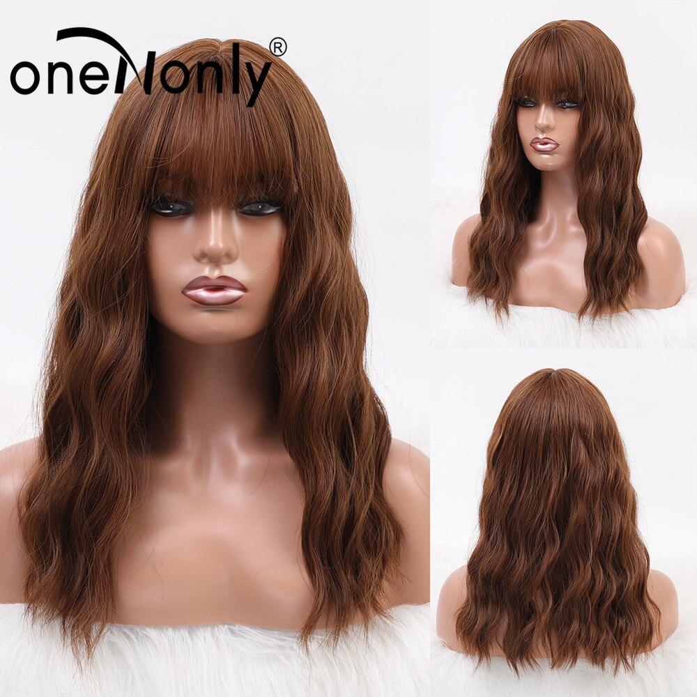 OneNonly longueur moyenne Ombre rouge brun vague naturelle perruques synthétiques vague de corps perruque pour les femmes Cosplay quotidien cheveux résistant à la chaleur