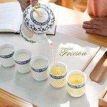 Tradycyjny chiński niebieski biały porcelanowy zestaw do herbaty zielona herbata pu-erh kubek garnek dzbanek ceramiczny Kungfu Teaset Teatime Drinkware Teaware