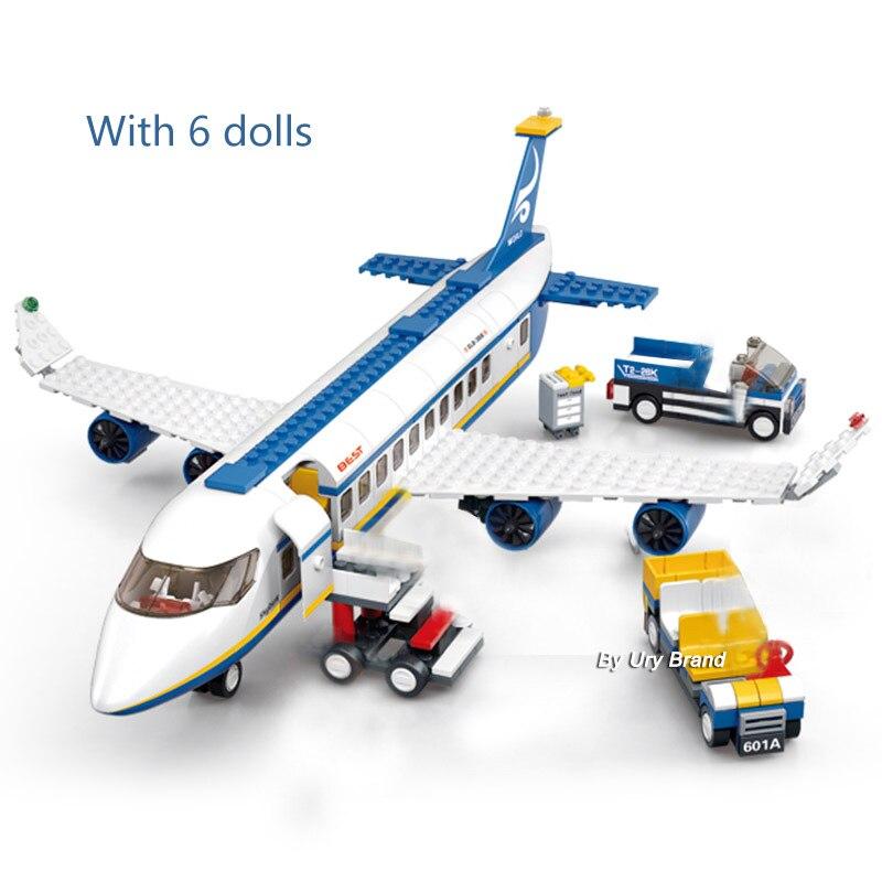 Sluban City Aviation Airport Modern Plane Bus Aircraft Airplane Model DIY Building Blocks Toys For Children Kids Gift
