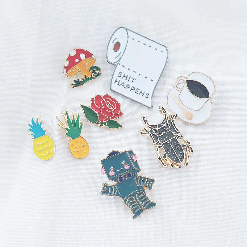 Mode Badge Ananas Rose Koffie Spider Robot Cartoon Mini Broche Emaille Pins Tas Metalen Knop Gesp Jassen Revers Pin Geschenken