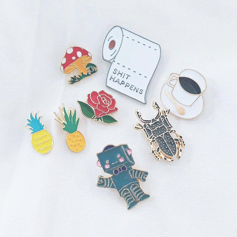Модный значок с ананасом, розой, кофе, пауком, роботом из мультфильма, мини-брошкой, эмалью, булавкой на сумку, металлической пряжкой, куртки, ...