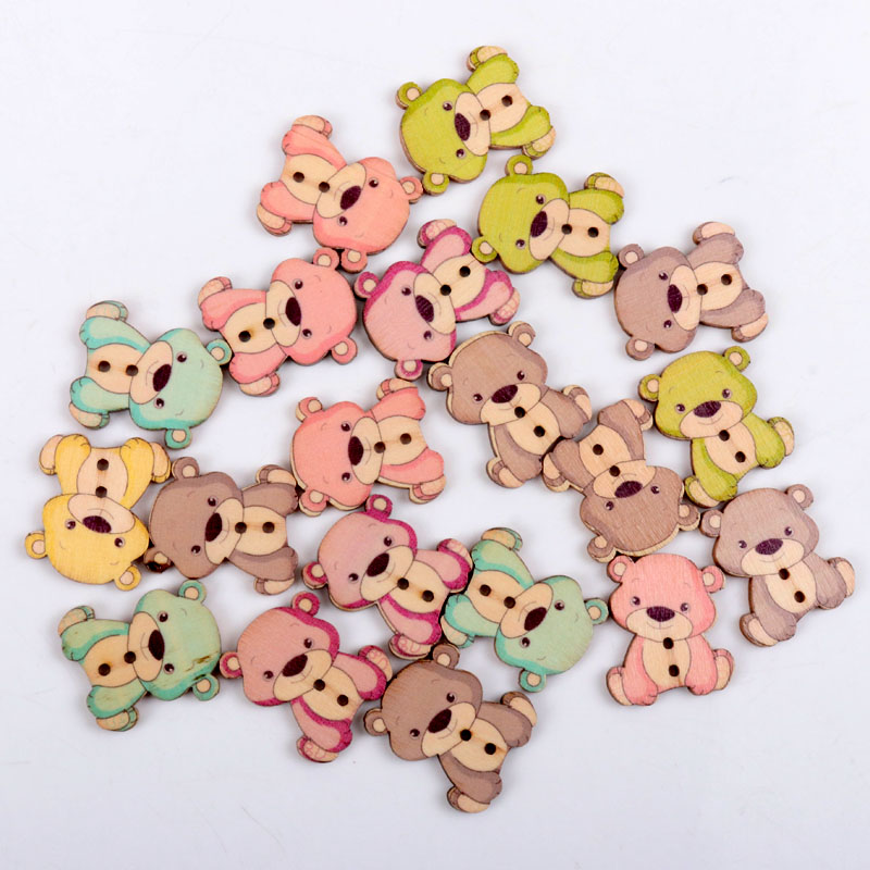 20pcs 23x27mm Mixed Cartoon Lovely Bear Painted Decorative Wooden Buttons For Handmake Scrapbooking Crafts Invigorating Blood Circulation And Stopping Pains