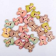 20 pces 23x27mm misto dos desenhos animados adorável urso pintado botões de madeira decorativos para artesanato scrapbooking handmake