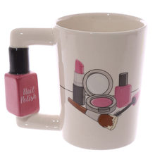 Tazas de cerámica creativas pintadas a mano en 3D para niña, Kit de belleza con mango de taza de té y café, secador de pelo, taza de té para mujer, regalo