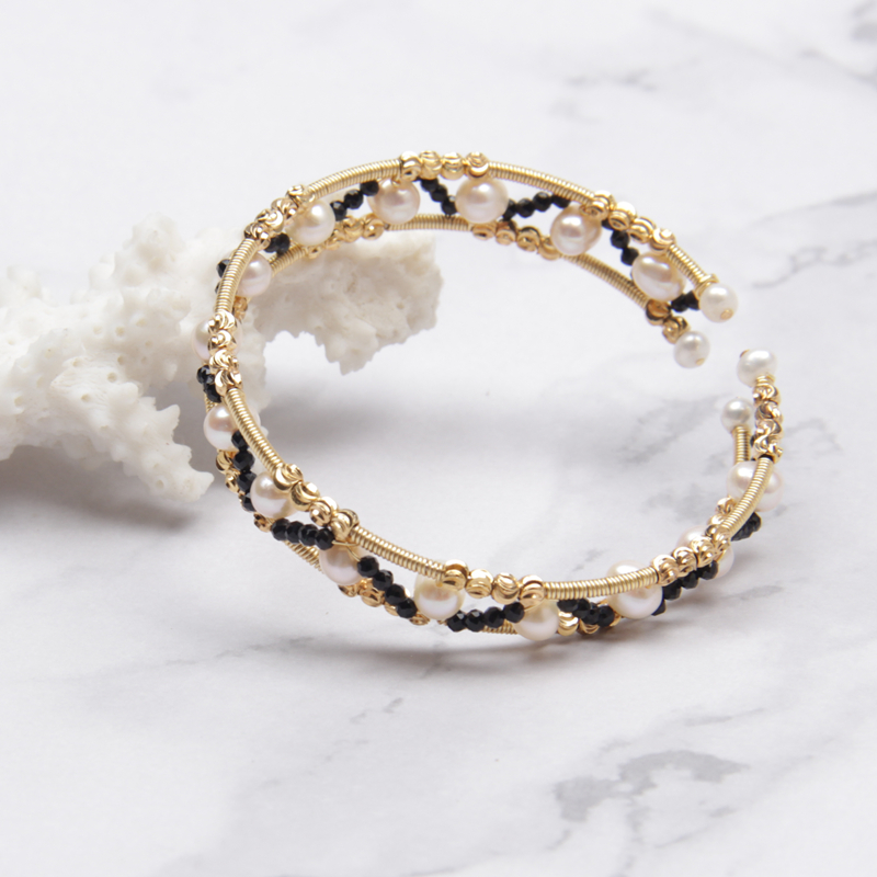 Designer handcraft spinel beaded bangle women 6mm round genuine pearl fresh water natural white bracelet stretch