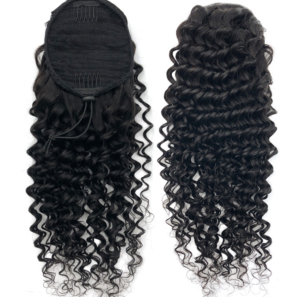 Tinashe Beauty Deep Wave Wavy Drawstring Ponytail Human Hair Clip In Extensions for America Women Pony Tail Remy Natural Black